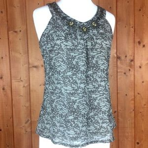 Cynthia Rowley Tank Blouse Embellished Collar S
